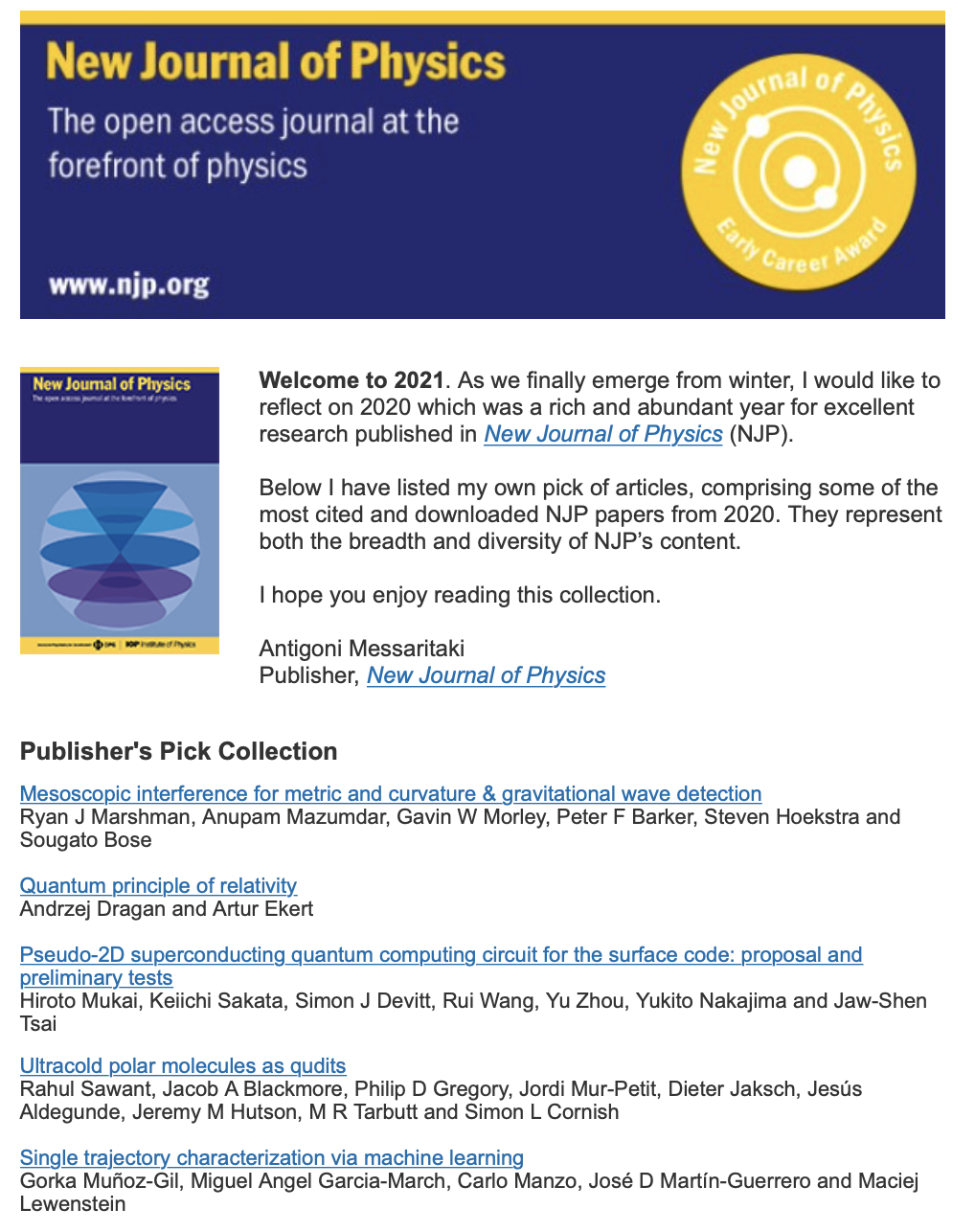 New Journal of Physics selects an IDAL paper as one of the best ones published in 2020